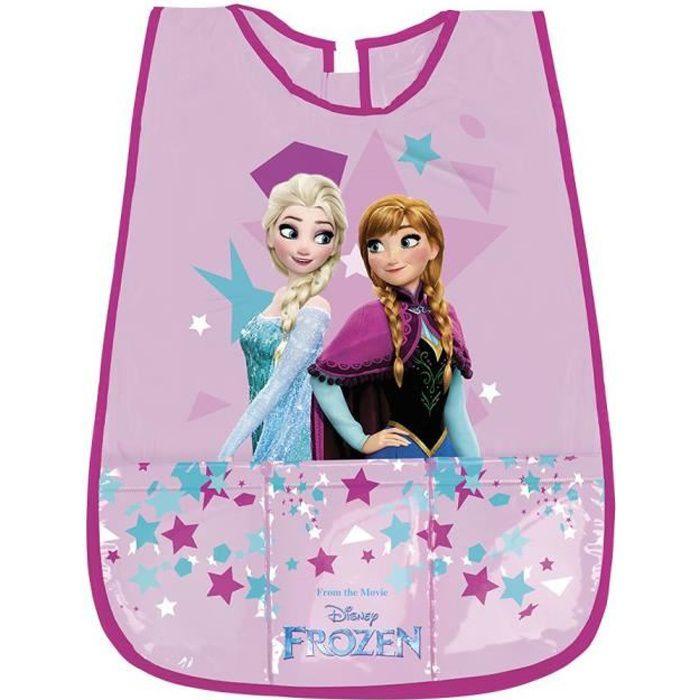 Tablier Fille Disney Frozen avec poche - Blouse sans manches Enfant Anna et Elsa La Reine des Neiges - 3/5 Ans - Rose - Perletti