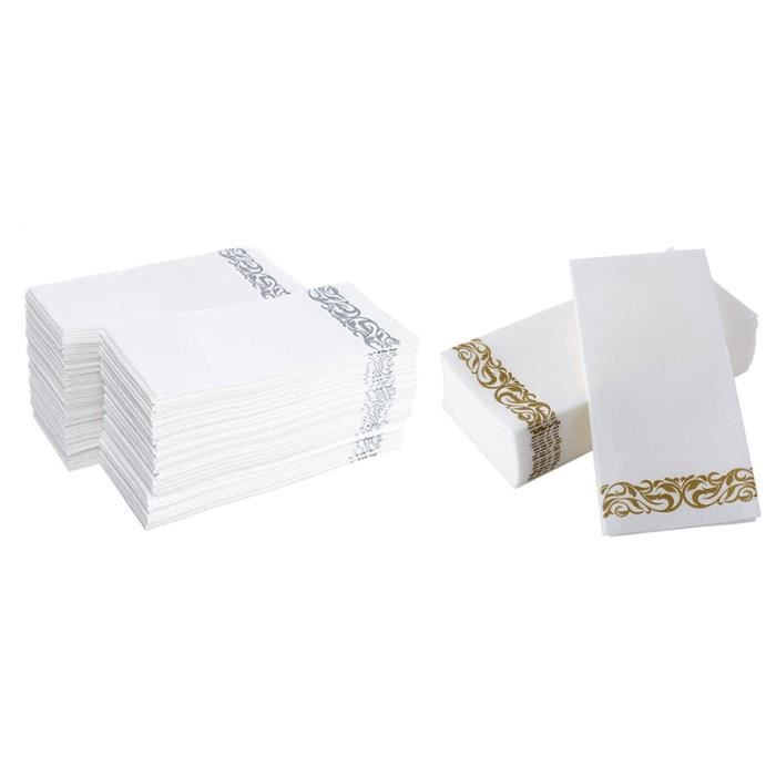100 Pcs Essuie-Mains Jetables Serviette en Papier Salle de Bains Mariages Parti HôTel Serviettes en Papier Doux et Absorbant