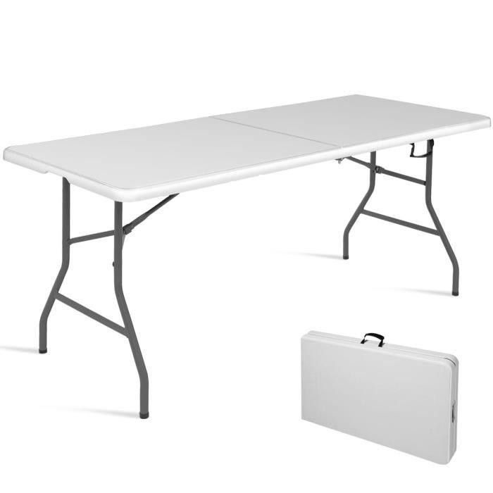 pour Camping d'Appoint Extérieur Buffet ou Pliante Jardin Intérieur Marché Blanc en Table Giantex Table Réception sCdxtQrBh