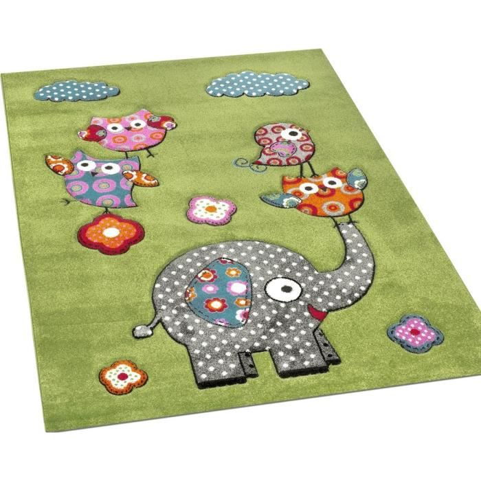 tapis chambre d 39 enfant adorable monde animal el phant vert bleu gris rouge dimension 80x150 cm. Black Bedroom Furniture Sets. Home Design Ideas