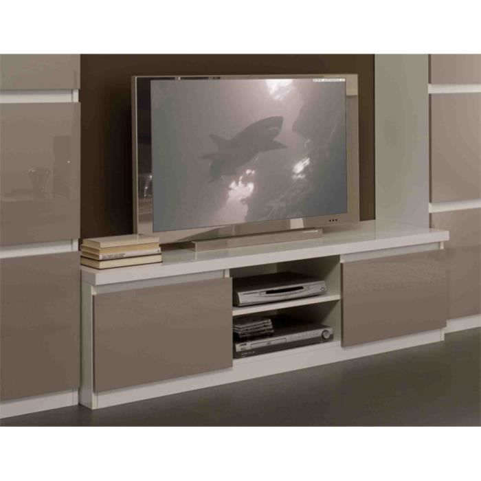 meuble tv roma laque bicolore blanc gris achat vente. Black Bedroom Furniture Sets. Home Design Ideas