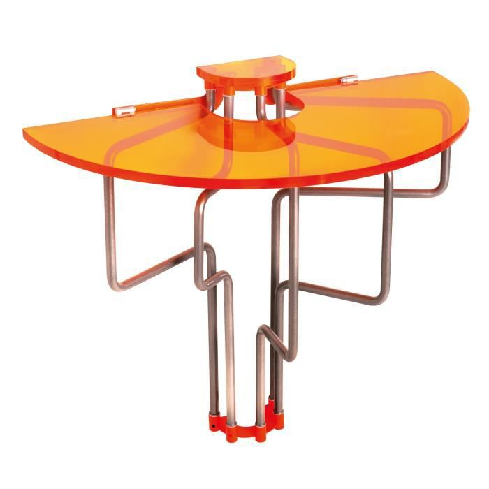 Table murale rabattable en pmma orange table de cuisine for Table de salon escamotable