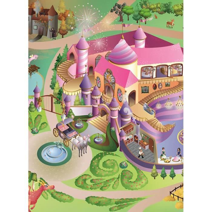 tapis enfant jeu circuit princess multicolore 100x150 par house of kids tapis pour enfant. Black Bedroom Furniture Sets. Home Design Ideas