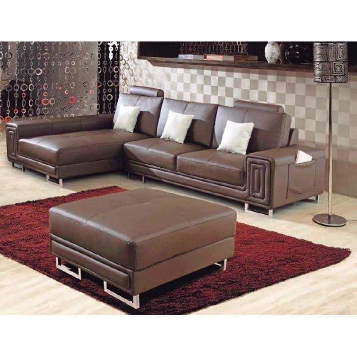 canap cuir d 39 angle gauche biarritz marron pouf achat vente salon complet cuir bois. Black Bedroom Furniture Sets. Home Design Ideas