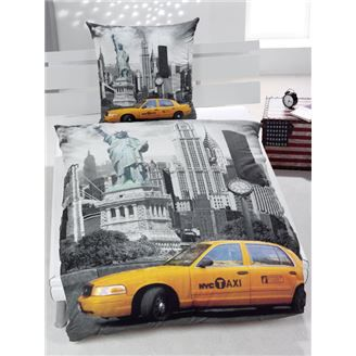 new york taxi parure couette 1 pers lit 90 cm 100 achat vente parure de couette cdiscount. Black Bedroom Furniture Sets. Home Design Ideas