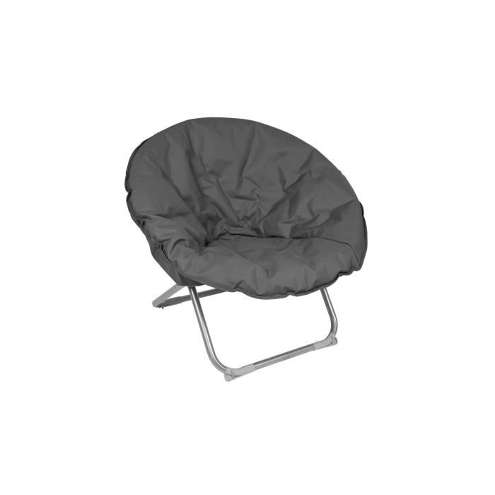 fauteuil de jardin pliant rond gris achat vente. Black Bedroom Furniture Sets. Home Design Ideas
