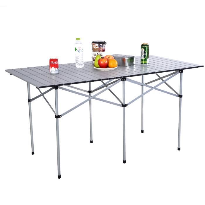 table de camping en aluminium de jardin pliable portable 140x70x70cm prix pas cher cdiscount. Black Bedroom Furniture Sets. Home Design Ideas