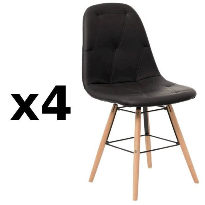 lot de 4 chaises design scandinave henry similicuir pu. Black Bedroom Furniture Sets. Home Design Ideas