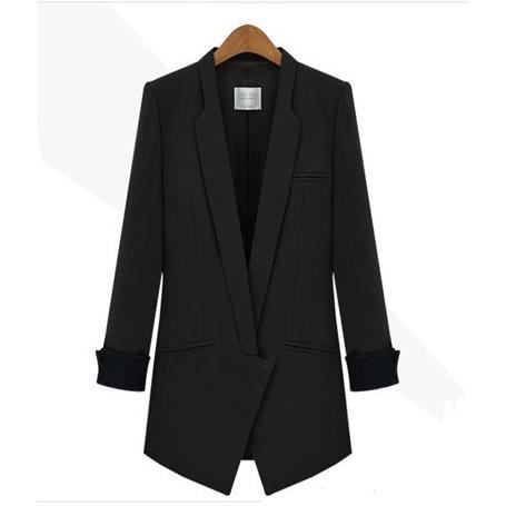 long femme veste blazer femme blouson manteau noir achat vente blouson cdiscount. Black Bedroom Furniture Sets. Home Design Ideas