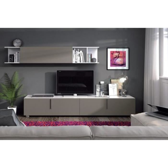 meuble tv avec une tag re murale coloris blant brillant et basalte dim 39 x 200 x 42 cm. Black Bedroom Furniture Sets. Home Design Ideas