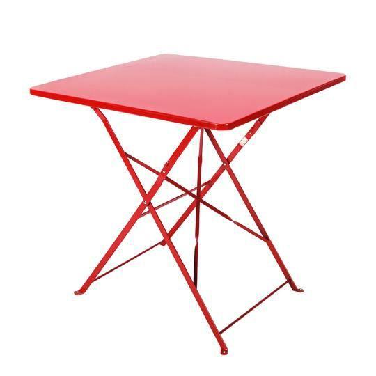 Table de Jardin Pliante Carrée 70 x 70 cm Rouge - Achat ...