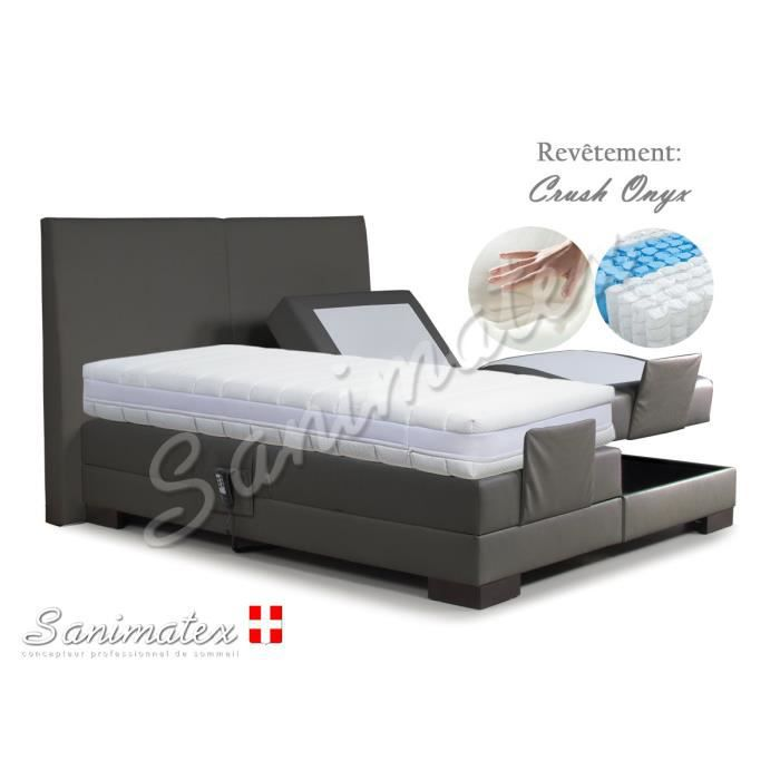 lit electrique boxspring 140x190 fujiyama amazonia kaki achat vente lit complet lit. Black Bedroom Furniture Sets. Home Design Ideas