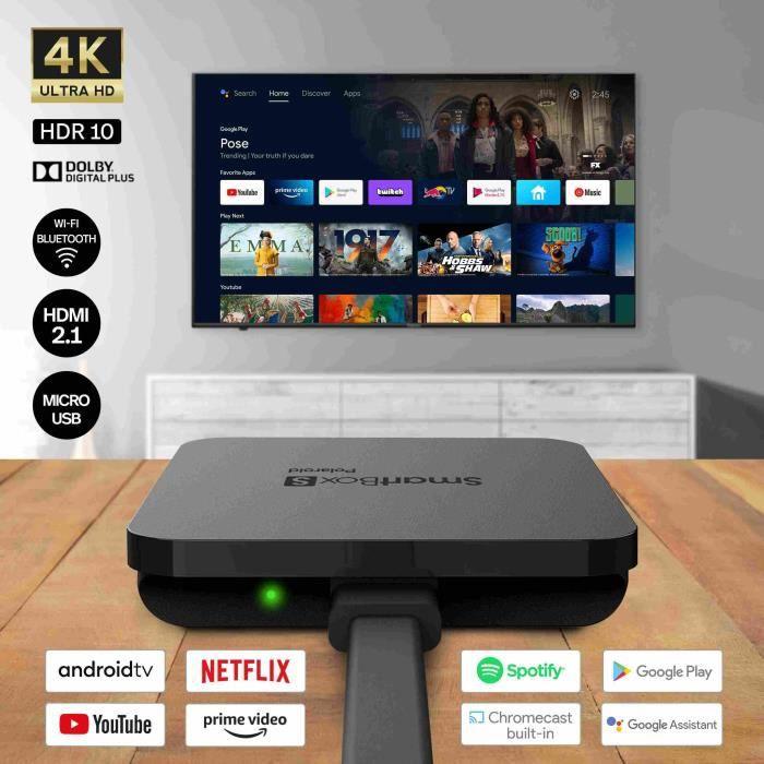 POLAROID - SMART BOX S 4K - Smart TV - Android TV - Boitier TV - HDR 10 - YouTube - Netflix - Google Assistant - Chromecast