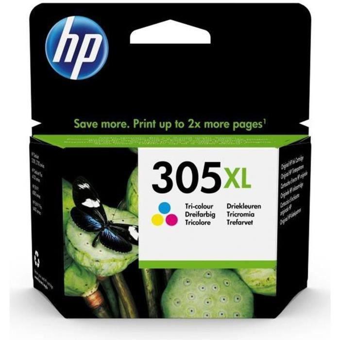 HP 305XL Cartouche d'Encre Tricolor Grande Capacité Authentique pour HP DeskJet 2300/ 2700/Plus 4100, ENVY 6000/Pro 6400 (3YM63AE)