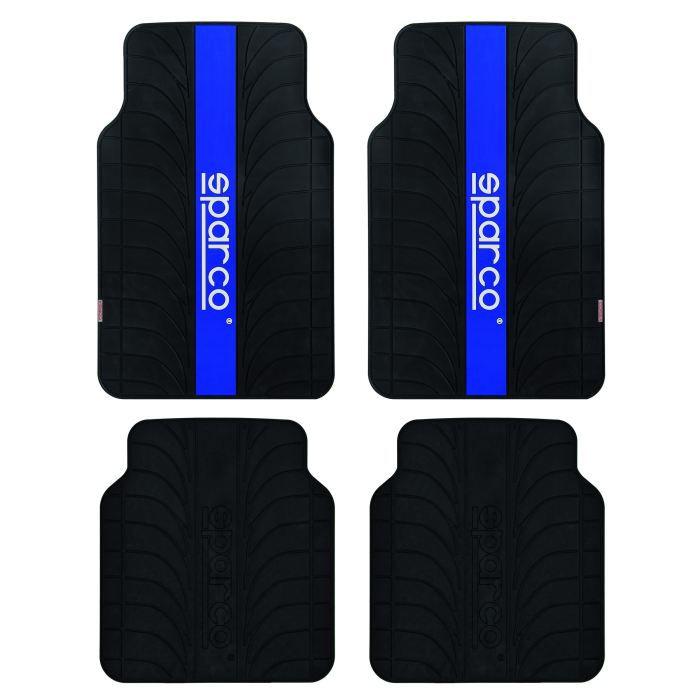 Jeu de 4 tapis SPARCO noirs + bande bleue