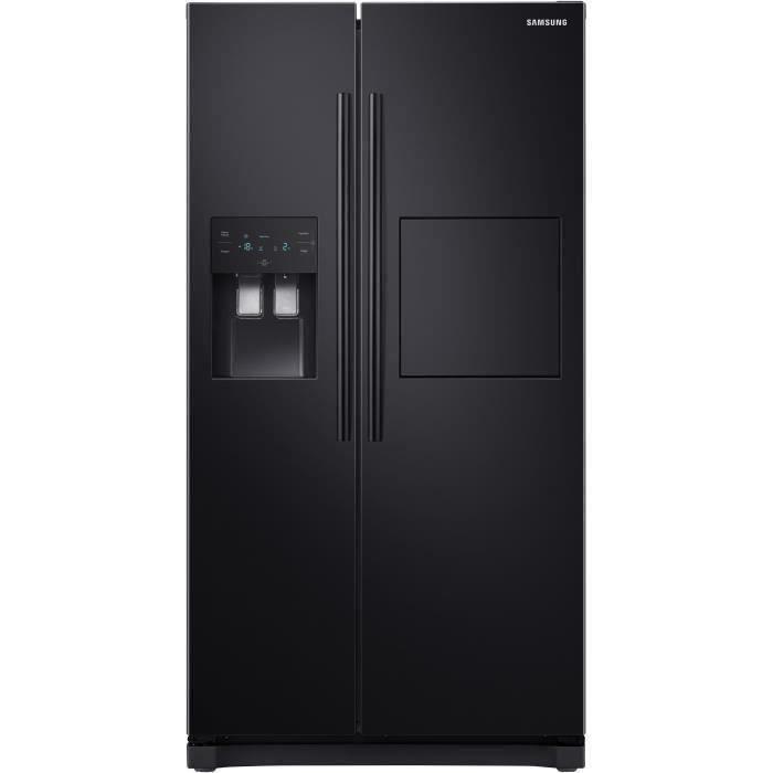 SAMSUNG RS50N3803BC-Réfrigérateur américain-501 L (357 + 144 L)-Froid ventilé--L 91,2 x H 178,9 cm-Noir carbone