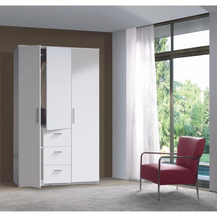 BOOST Armoire 3 portes 203x117cm blanc brillant