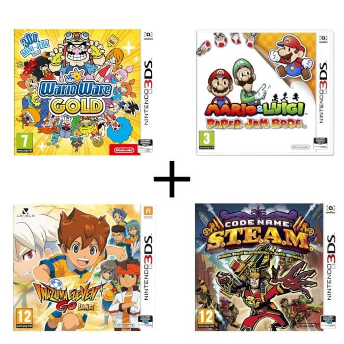 Pack 4 jeux 3DS : Wario Ware Gold + Mario & Luigi Paper Jam + Code Name : STEAM + Inazuma Eleven Go Lumière