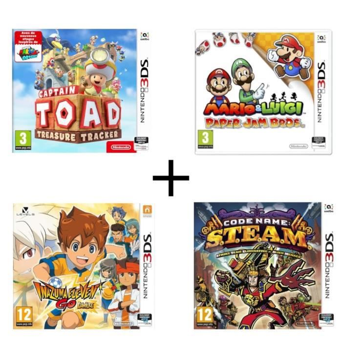 Pack 4 jeux 3DS : Captain Toad Treasure tracker + Mario & Luigi Paper Jam + Code Name : STEAM + Inazuma Eleven Go Lumière