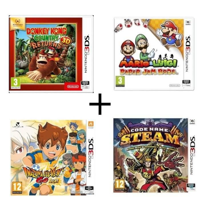 Pack 4 jeux 3DS : Donkey Kong Country Returns + Mario & Luigi Paper Jam + Code Name : STEAM + Inazuma Eleven Go Lumière