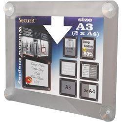 Porte affiche pour vitre - A3 - gris
