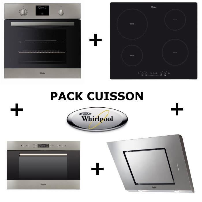 WHIRLPOOL Pack cuisson : Four pyrolyse + Table induction + Hotte + Micro-ondes encastrable WHIRLAMW703IX