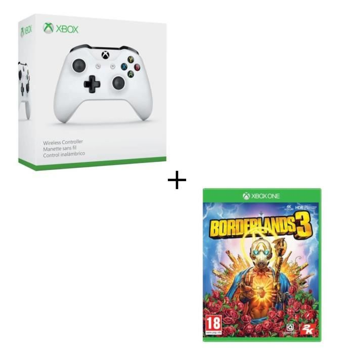 Manette sans fil Xbox One blanche compatible PC + Borderlands 3 Jeu Xbox One