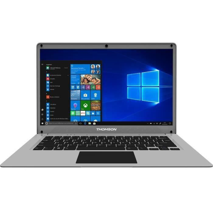 PC Portable Ultrabook - THOMSON Neo 14'' HD - Celeron - RAM 4Go - Double Stockage 64Go+128Go SSD - Windows 10S - Silver - AZERTY