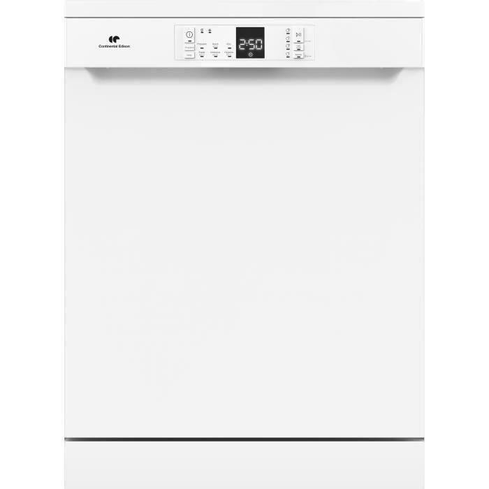 CONTINENTAL EDISON Lave-vaisselle 15 couverts, 45 dB, 3 paniers, tiroir à couverts, blanc