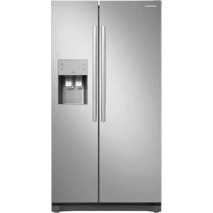 SAMSUNG RS50N3403SA - Réfrigérateur américain - 501 L (357 + 144 L) - Froid ventilé multiflow - A+ - L 91,2 x H 178,9 cm - Inox