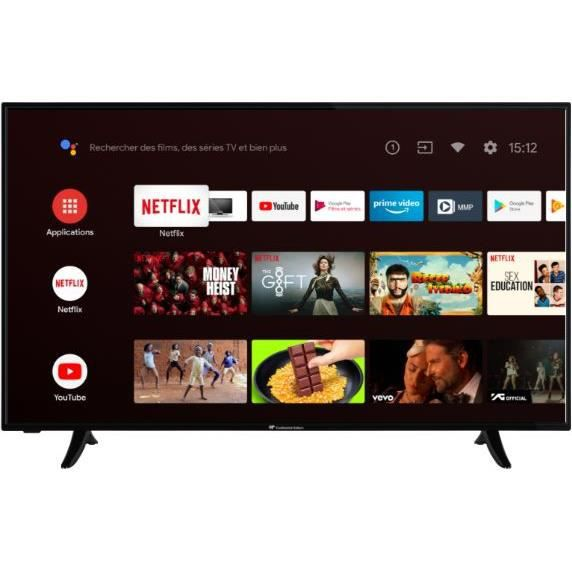 CONTINENTAL EDISON TV LED 4K UHD - 55-(139cm) - Smart TV -WiFi - Bluetooth - Android - HDMIx4 - USBx2- Commande Vocale