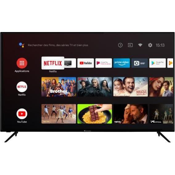 CONTINENTAL EDISON TV LED 4K UHD - 65- (164cm) - Smart TV - WiFi - Bluetooth - Android - 4xHDMi - 2xUSB - Commande Vocale