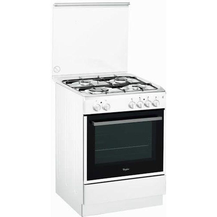 WHIRLPOOL ACMK6123WH - Cuisinière table gaz-4 foyers-Four électrique-Catalyse-59L-A-L60xH85cm-Blanc