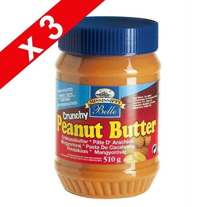 [LOT DE 3] MISSISSIPI BELLE Beurre de Cacahuètes Crunchy - 510 g