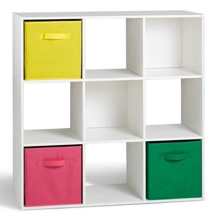 Compo lot de 2 cubes 9 cases blanc achat vente petit for Meuble petit casier