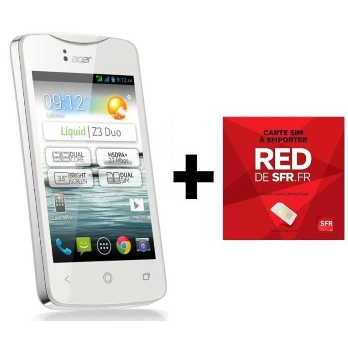 SMARTPHONE Pack Acer Liquid Z3 Blanc +  Carte SIM RED