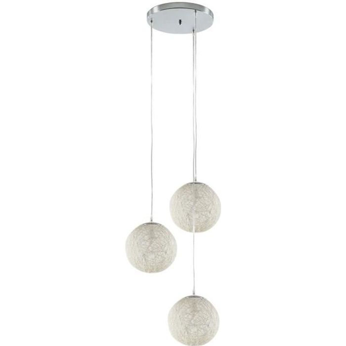 baya lustre suspension 3 boules rotin 20cm blanches hauteur plafond 105cm achat vente. Black Bedroom Furniture Sets. Home Design Ideas
