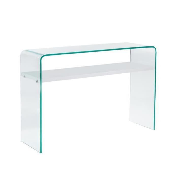 Clear console style contemporain en verre tremp transparent laqu blanc bril - Table console en verre trempe ...