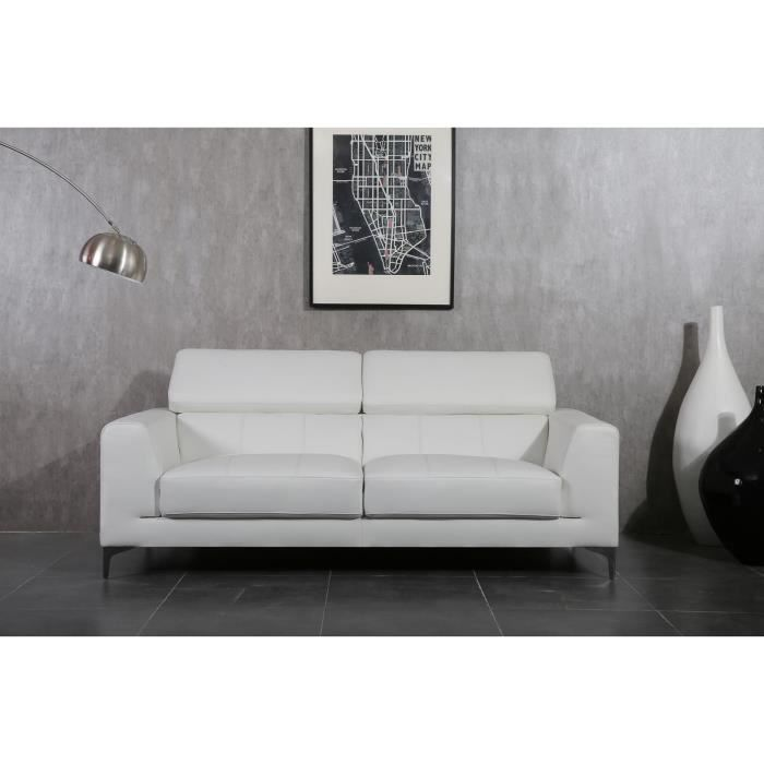luxo canap droit 3 places cuir pvc blanc achat vente canap sofa divan pieds chrom s. Black Bedroom Furniture Sets. Home Design Ideas