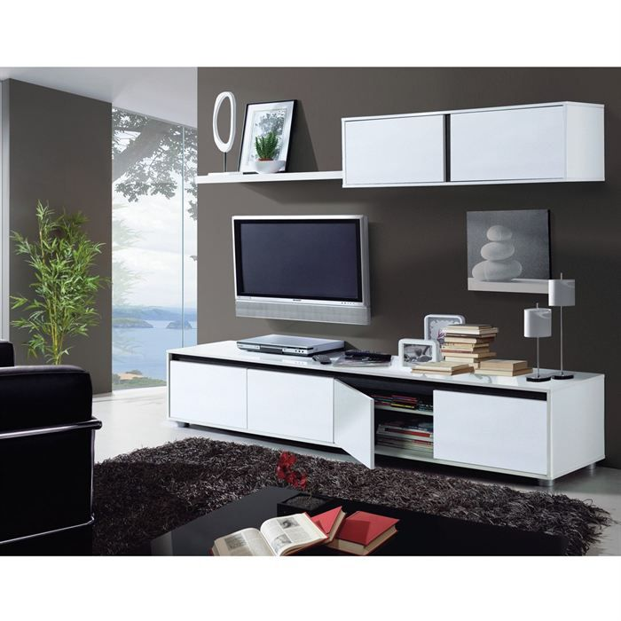 Aura ensemble s jour contemporain laqu blanc brillant l for Meuble bas sejour
