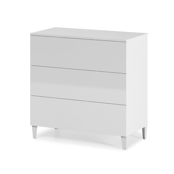 loft commode de chambre 80 cm blanc brillant achat vente commode de chambre loft commode. Black Bedroom Furniture Sets. Home Design Ideas