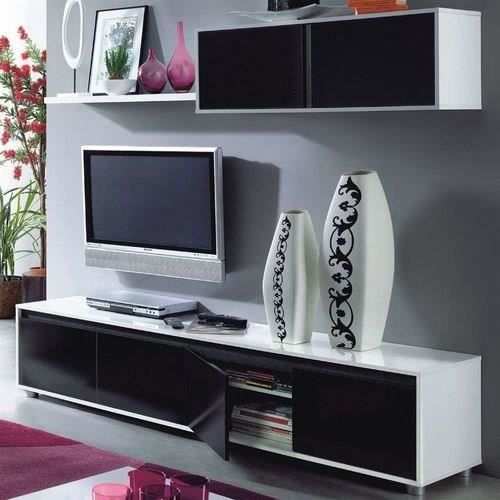 alida meuble tv mural 200 cm noir blanc achat vente. Black Bedroom Furniture Sets. Home Design Ideas