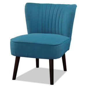 FAUTEUIL NOLA Fauteuil pieds bois -Tissu bleu - L 59 x P 70