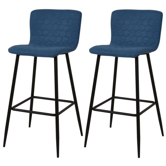 vegas lot de 2 tabourets de bar pieds m tal noir rev tement tissu bleu style contemporain. Black Bedroom Furniture Sets. Home Design Ideas