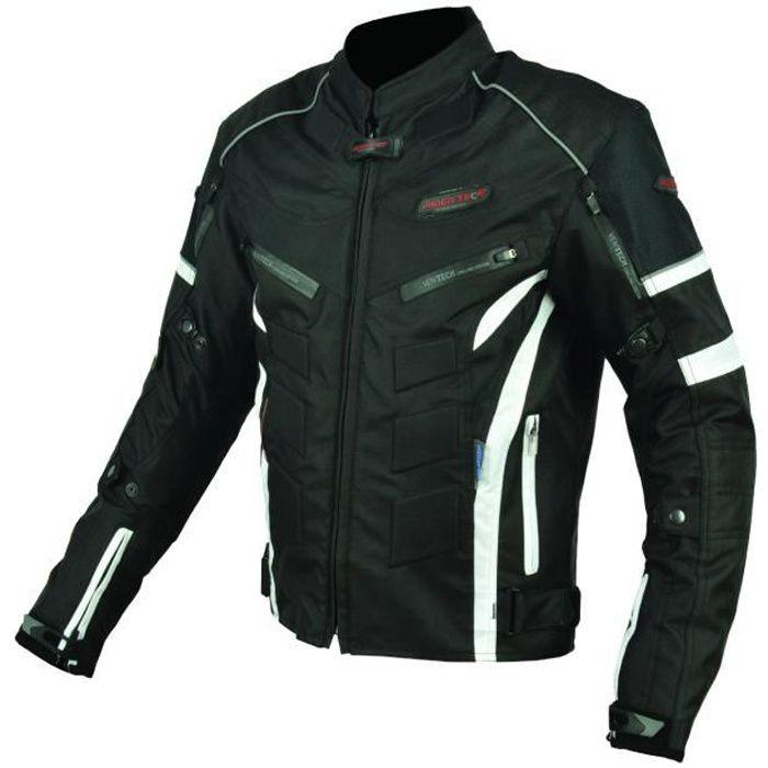 BLOUSON - VESTE Blouson Moto Textile Noir et Blanc - Protections C