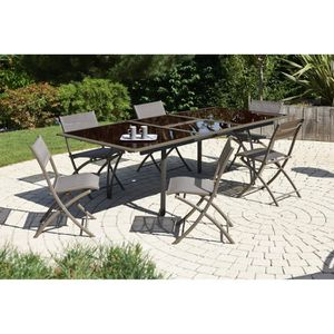 SALON DE JARDIN  Ensemble table extensible de jardin 180 - 240 cm +