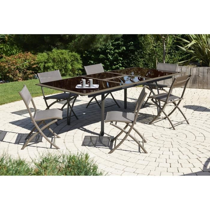 Ensemble table extensible de jardin 180 240 cm 6 chaises pliantes alumini - Ensemble table de jardin ...