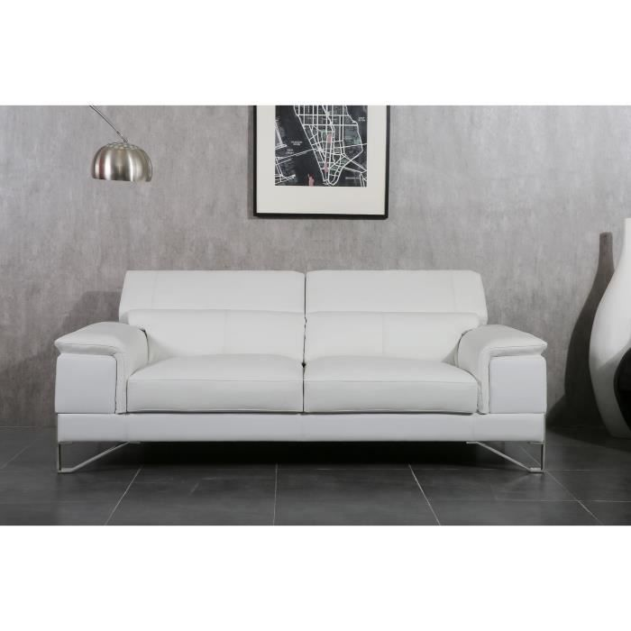 elypse canap fixe cuir et simili 3 places 213x104x92 cm blanc achat vente canap sofa. Black Bedroom Furniture Sets. Home Design Ideas