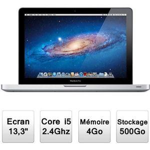 """Top achat PC Portable Apple MacBook Pro 13"""" (MD313F/A) Intel Core i5 à 2,4 GHz - Mémoire 4096Mo - Stockage 500Go - Intel HD Graphics - Mac OSX Lion 10.7 pas cher"""