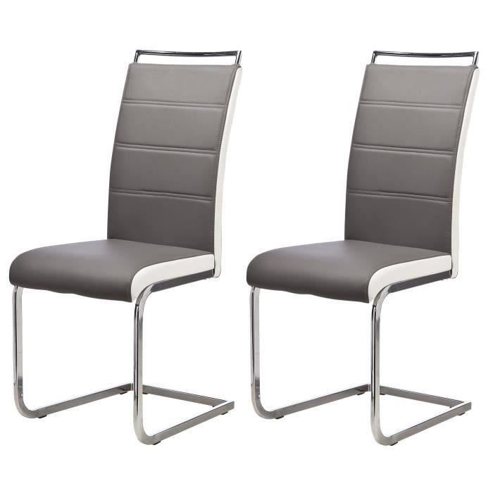 Dylan lot de 2 chaises de salle manger en simili gris for Lot de chaise salle a manger